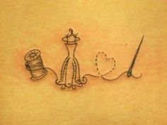 Adorable thin line tattoo, for one who sews! A spool, a dress and heart/needle.