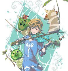 Legend of Zelda Wind Waker art > Link, Makar, & koroks making music The Legend Of Zelda, Legend Of Zelda Breath, Link Fan Art, Link Art, Wind Waker, Chibi, Image Zelda, Link Zelda, Fanart