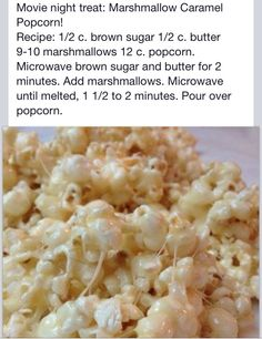 Marshmallow Popcorn - You can use coconut oil instead of the butter, delicious! Throw a little salt on top, yum! Popcorn Recipes, Snack Recipes, Dessert Recipes, Cooking Recipes, Desserts, Popcorn Snacks, Popcorn Balls, Pop Popcorn, Flavored Popcorn