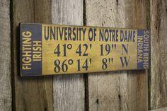 Notre Dame Sign, Notre Dame Latitude Longitude Sign, Fighting Irish Sign, Notre Dame Decor, Fighting Irish Decor by BlueDogFramingDesign on Etsy