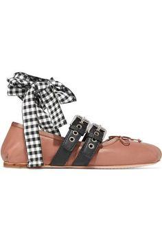 d9e4833138d Miu Miu - Lace-up Leather Ballet Flats - Pink Black Ballet Shoes