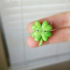 Kawaii Four Leaf Clover Polymer Clay Charm by TheClayCroissant