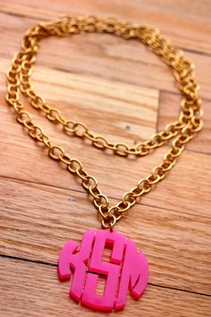 Moon and Lola Block Monogram on Greenwich Chain