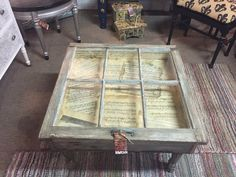 Window coffee table with sheet music