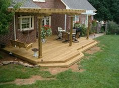 Simple low deck, pergola, one long step across the deck Patio Pergola, Deck With Pergola, Pergola Ideas, Pergola Kits, Modern Pergola, Deck Trellis Ideas, Landscaping Ideas, Front Porch Pergola, Gazebo