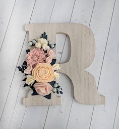 Custom Wood Floral Wall Letter - Felt Flower Letter - Nursery Letter - Wall Letters For Nursery - Wood Letter Decor - Nursery Wall Decor Say 'Aye!' if you'd like to see this font added to our letter choices! It's quite a bit wider than our other choices. Nursery Letters, Diy Letters, Letter A Crafts, Nursery Wall Decor, Decorative Letters For Wall, Wall Letters Decor, Letters Decoration, Decorations, Felt Flowers