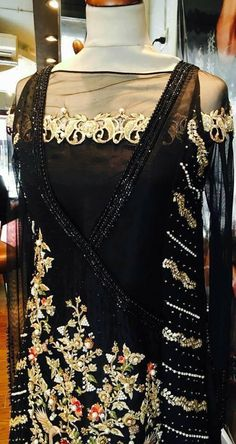 Beutifull wedding party dress in black color work embellished with pure dabka threds pearls and nagh work.(Please Ask Us Your exact Dresses are Manufactured designs/Cutting/stitching Unde Pakistani Party Wear Dresses, Desi Wedding Dresses, Pakistani Wedding Outfits, Pakistani Dress Design, Indian Dresses, Indian Outfits, Eid Outfits, Indian Clothes, Stylish Dresses