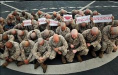 All of these Marines shaved their heads because one of the Marine's nieces has cancer.