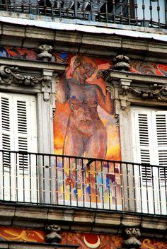 Plaza Mayor  de Madrid, Casa de la Panadería pinturas de Carlos Franco ,  Spain