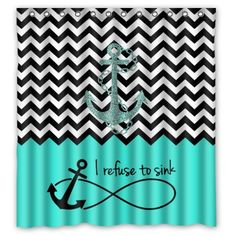 "66""(Width) x 72""(Height) Turquoise Block Chevron Zigzag Infinity Anchor Quotes I refuse to Sink Theme Design 100% Polyester Bathroom Shower Curtain Shower Rings Included -Best Visual Enjoyment For You Chevron Shower-curtain http://www.amazon.com/dp/B00OQ0L6JE/ref=cm_sw_r_pi_dp_J549ub1EQ3W14"