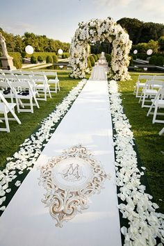 Monogrammed wedding aisle runner.