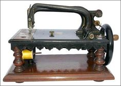 Grover & Baker antique hand-crank turned-leg sewing machine 1870 box