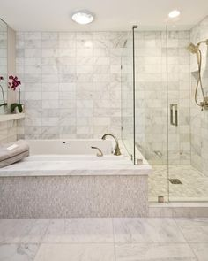 Fantastic Contemporary Bathrooms With Spa Ideas A Spa Tub Sits Next To A Free Standing Shower In This Contemporary Bathroom The Marble Tile Adds Style That Flows Throughout The Space Bathroom Renos, Bathroom Renovations, Bathroom Interior, Small Bathroom, White Bathroom, Bathroom Ideas, Master Bathroom Tub, Bathroom Organization, Bathroom Cabinets