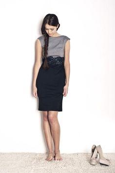 Dress by Sylwia Snoch - designer of OdProjektanta.pl    $170    http://odprojektanta.pl/pr-181/SYLWIA-SNOCH-Sukienka-na-szerokich-ramionach-z-koronka-w-pasie-czarno-szara.html    Contact: bok@odprojektanta.pl