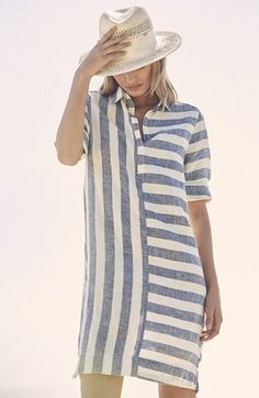 This popover style tunic dress cut from linen keeps the look cute and cool with a playful stripe print. Pair with a hat or even a brown belt to change up the vibe. Linen Tunic Dress, Linen Dresses, Casual Dress Outfits, Casual Summer Dresses, Striped Linen, Striped Dress, Mini Shirt Dress, Colourful Outfits, Blouse Designs