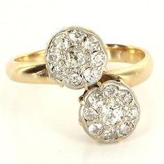 Antique Art Deco 14 Karat Yellow Gold Platinum Diamond Double Bypass Ring Used $795