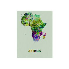 Africa Color Splatter Map Wall Art Print ($19) ❤ liked on Polyvore featuring home, home decor, wall art, home wall decor, map wall art, map home decor and mounted wall art