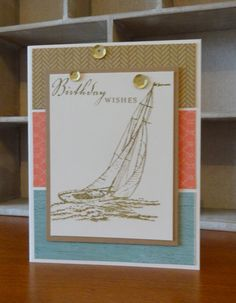 This card feature the Seaside Paper Packet, Seaside Greetings Stamp Set, Desert Sand Exclusive Inks Stamp Pad, CTMH Watercolour Pencils and Gold Sequins. Designed and created by Denise Tarlinton, CTMH Manager http://scrapstampshare.blogspot.com.au