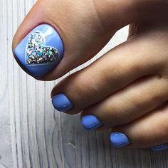 Lovely Blue Toe Nails Design With Heart Accent ❤Over 50 Incredible Toe Nail Designs for Your Perfe Blue Toe Nails, Pretty Toe Nails, Toe Nail Color, Summer Toe Nails, Feet Nails, Toe Nail Art, Blue Toes, Christmas Nail Designs, Nail Designs Spring