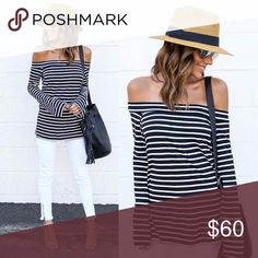 Bell Sleeve Off Shoulder Side Slit Striped Top Simple, chic, comfortable. This cute top has flared sleeves that give it a cool, retro vibe, short side slits that make it easy to wear and move around in, and a feminine off shoulder style that has a put together look. Super comfortable stretch jersey fabric for an all day, all night, fuss free feel. Trendy striped pattern that's bold but versatile.  ❌ Sorry, no trades.  454949  fairlygirly fairlygirly Tops Blouses