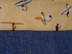 Handmade zip-up pouch with lining made in a cute surfer themed fabric with contrasting denim base.  Perfect size to carry cosmetics, make-up, phone, coins, cards, pens, keys, tissues...  Fabric is 100% cotton and is machine-washable.  Made and stored in a pet-free home.