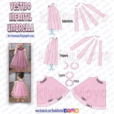 KiVita MoYo : VESTIDO INFANTIL UMBRELLA Sewing For Kids, Baby Sewing, Kids Dress Patterns, Kids Frocks, Fashion Sewing, Photos Du, Pattern Making, Diy Clothes, Baby Dress