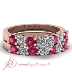 Heart Shaped And Round Diamonds & Pink Sapphire 14K Rose Gold Wedding Ring Set in Elongated Prong Setting    Triple Rounds