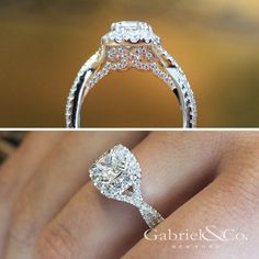Gabriel & Co. - Voted #1 Most Preferred Bridal Brand.  Two views of this 14k White/Pink Gold Cushion Cut Halo Engagement Ring.