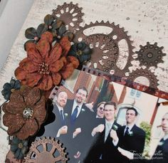 """Guy Time"" Layout by Tracey Sabella for Donna Salazar Designs: Faux Metal Gear Tutorial, Wedding, Spellbinders Sprightly Sprockets, Art Gone Wild - Crackle Stamp, Petaloo Flowers, Filmstrip"