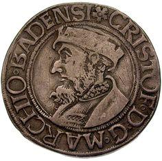 Markgrafschaft Baden. Münzstätte Durlach. Christoph I. (1475-1515, +1527). Dicken zu 1/3 Guldiner 1519. Ø 2,86 cm 9,66 g. Silber.