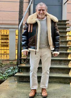 Suede Jacket, Leather Jacket, Aviator Jackets, Bomber Jackets, Blue Chinos, Sheepskin Jacket, Mens Fur, Shearling Coat, Winter Trends