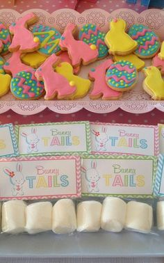 Easter party marshmallow bunny tails and sugar cookies!  See more party ideas at CatchMyParty.com!