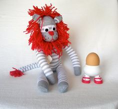 Sock lion  Sock animal Soft plush toy Lion softie by lostsockshome, $27.00