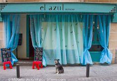 El mejor batido de chocolate en pleno Barrio de las letras. Mesas color azul, camareros casi azules!     [Calle Fucar, 5] #huertas