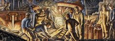 """Howard Norton Cook, """"Steel Industry,"""" (detail) 1936, United States Post Office & Courthouse, Pittsburgh, PA. Courtesy of the General Services Administration, Fine Arts Program"""