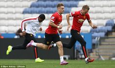 Valencia, Shaw and Fletcher warm down after the Leicester defeat. Manchester United 2014, Warm Down, Southampton, Leicester, Valencia, The Unit, Football, Running, Sports