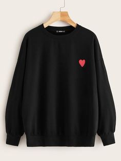 Heart Print Drop Shoulder PulloverCheck out this Heart Print Drop Shoulder Pullover on Romwe and explore more to meet your fashion needs! Sweat Shirt, Printed Sweatshirts, Hooded Sweatshirts, Fashion Mode, Fashion Outfits, Girl Fashion, Cool Hoodies, Pullover, Heart Print