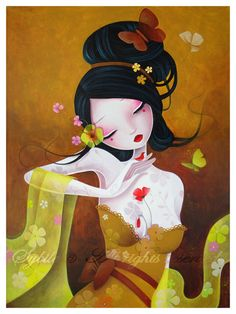 Kai Fine Art is an art website, shows painting and illustration works all over the world. Art Geisha, Geisha Kunst, Art And Illustration, Illustrations, Fantasy Kunst, Fantasy Art, Art Mignon, Art Asiatique, Art Japonais