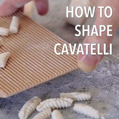 You won't believe how easy it is to shape cavatelli by using a gnocchi board or just a flat surface! You won't believe how easy it is to shape cavatelli by using a gnocchi board or just a flat surface! Easy Pasta Recipes, Soup Recipes, Easy Meals, Cooking Recipes, Recipes Dinner, Potato Recipes, Crockpot Recipes, Cooking Tips, Breakfast Recipes