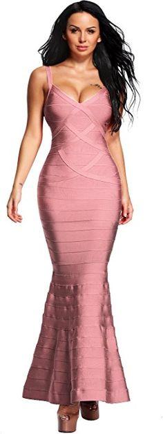 53fd520fbd Amazon.com  Hego Women s V-Neck Backless Fishtail Bandage Formal Maxi Dress  Long H2082 (L