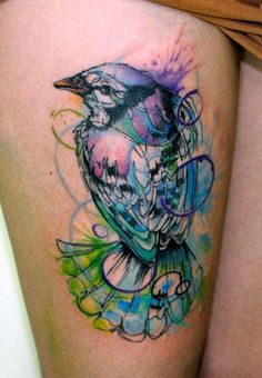 "Love this graphic watercolor design. Add a little top hat, place on my shoulder.... ""Mr bluebird on my shoulder""."