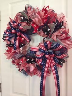 Large Patriotic Wreath, Fourth of July Wreath, Memorial Day Wreath, wreath, Veterans day wreath, red white and Blue Wreath, Anytime Wreath by RoesWreaths on Etsy https://www.etsy.com/listing/474741762/large-patriotic-wreath-fourth-of-july