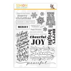 New from the Cheer and Joy collection! Simon Says Stamp clear stamps are high quality photopolymer and made in the USA. This stamp set measures approximately 6 x 8 inches. Happy Holidays Wishes, Holiday Wishes, Christmas Wishes, Holiday Cards, Christmas Cards, Xmas, Cheer Quotes, Cheer Sayings, Sport Quotes