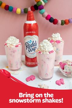 This Animal Snowstorm Shake is perfectly pink and ready to help you start celebrating summer, the Reddi-wip way. Cute Snacks, Cute Desserts, Cute Food, Delicious Desserts, Yummy Food, Fun Baking Recipes, Dessert Recipes, Aesthetic Food, Diy Food