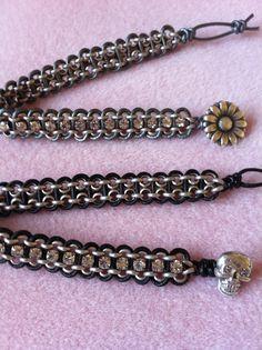 Leather, Rolo Chain, and Rhinestone Chain