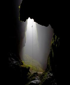 Rappel into a cave! Maybe here at the Lost World Cave in New Zealand, or maybe Devil's Sinkhole in West Texas.