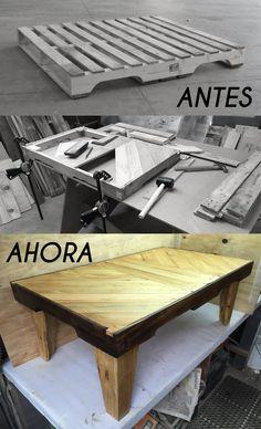 Mesa de centro fabricada con madera de pallet - 98cm de largo x 55cm de ancho y 35cm de alto - RRR (Reduce-Recicla-Reutiliza)