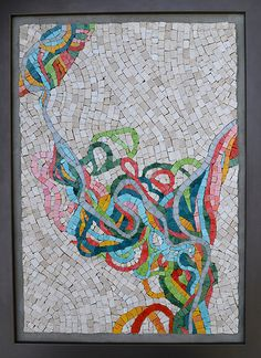 """""""Mississippi Meander""""  (Mexican smalti and marble mosaic based on an old map of the meander paths of the Mississippi) ~ by Julie Sperling"""