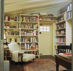 """Previous pinner: """"Rosehill Cottage in the movie, The Holiday"""" -- Me: """".a room we see very little of in the movie. It's a wonderful, cozy library. Love the old rug and those old, old floors. The door is the back door to the cottage. Style Cottage Anglais, Cottages Anglais, Cozy Library, Library Room, Library Corner, Modern Library, Future Library, Dream Library, Library Design"""