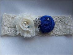 blue bridal garter accents